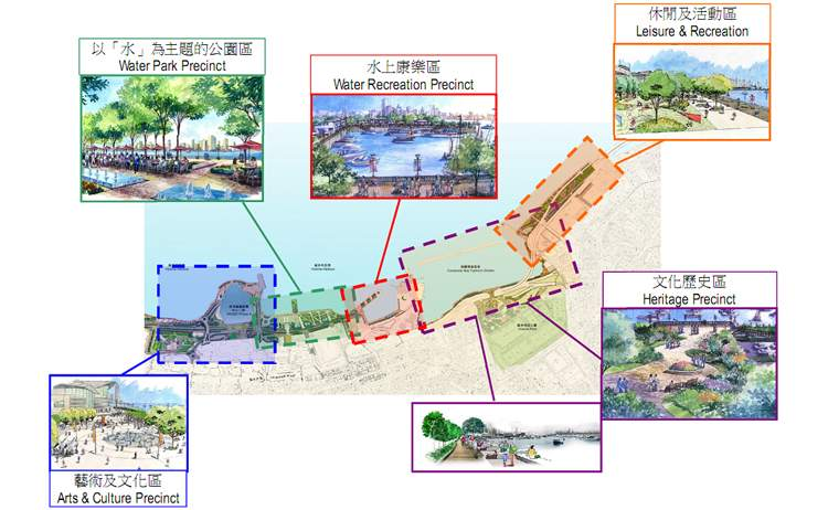 Create 5 character precincts to provide a vibrant and attractive waterfront.