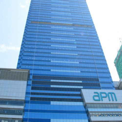 The facade of Millennium City 5 – BEA Tower. Located on Kwun Tong Rd, Kwun Tong. 42-storey. Atop of Kwun Tong MTR Station.