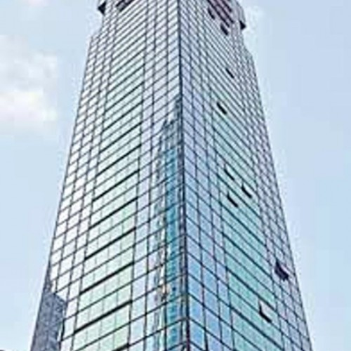 The facade of Prosperity Centre. Located on Canton Road, Mongkok. 25-storey.